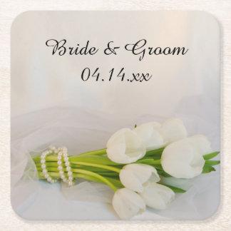 Bröllop för vittulpanbukett underlägg papper kvadrat