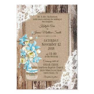 Bröllop för Wood snöre för blåttOrchidpion 12,7 X 17,8 Cm Inbjudningskort