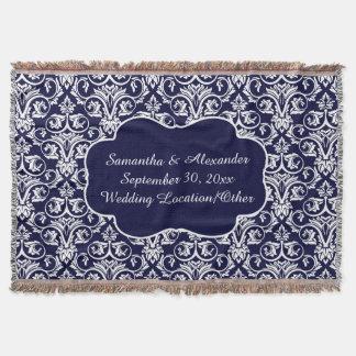 Bröllop/marinblå minnessak för personlig damastast mysfilt