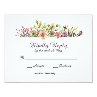 Bröllop OSA för bergvildblommavattenfärg 10,8 X 14 Cm Inbjudningskort