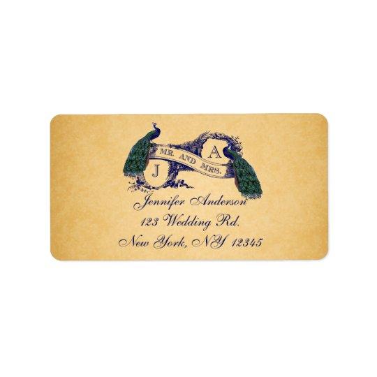 Bröllop OSA för papper för blåttpåfågelvintage Adressetikett