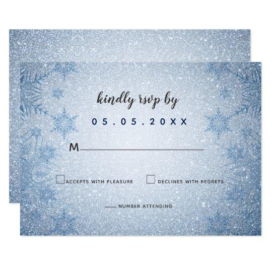 51c86e356845 Bröllop OSA för vinter för glitterblåttsnöflingor 8,9 X 12,7 Cm  Inbjudningskort