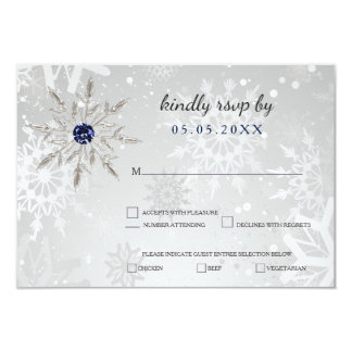 bröllop OSA för vinter för silvermarinsnöflingor 8,9 X 12,7 Cm Inbjudningskort