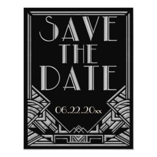 Bröllop spara datum för art décoGatsby stil Anpassade Inbjudningskort