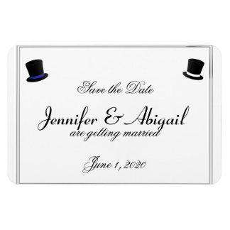 Bröllop spara datum för bög för top hatflugablått magnet