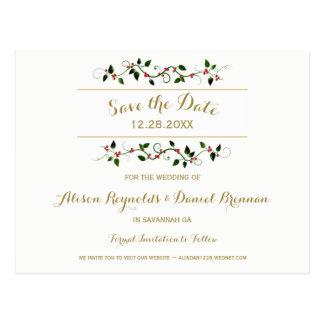 Bröllop spara datum för julhelgdagvinter vykort