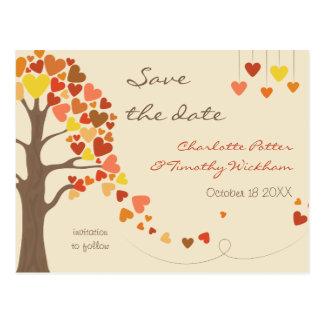 Bröllop spara datum för kärlekträdhjärtor vykort