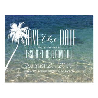 Bröllop spara datum för palmträdstrandsommar vykort