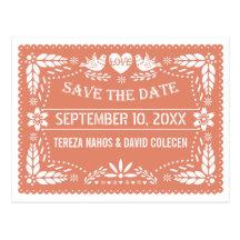 Bröllop spara datum för persika för Papel Vykort