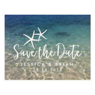 Bröllop spara datum för sjöstjärnasommarstrand vykort