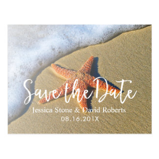 Bröllop spara datum för sommarstrandsjöstjärna vykort