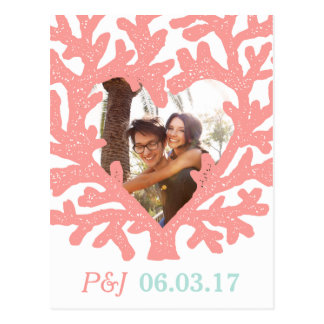 Bröllop spara datum för strand för vykort
