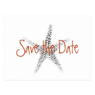 Bröllop spara datum med sjöstjärnan vykort
