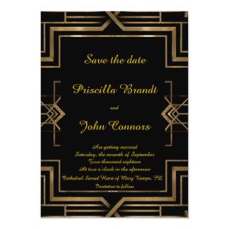 Bröllop spara datum svarten, underbar-Gatsby, 12,7 X 17,8 Cm Inbjudningskort