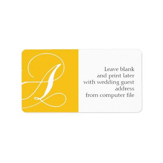 BröllopadressetiketterMonogram en gult Adressetikett