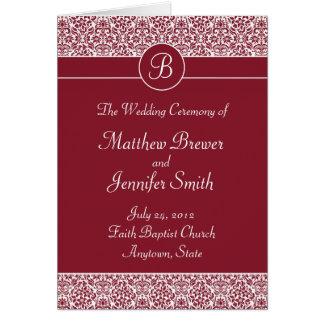 Bröllopceremoniprogramet och beställer av tjänste- hälsningskort