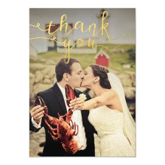 Bröllopfotoguld omkullkastar tackkort 12,7 x 17,8 cm inbjudningskort