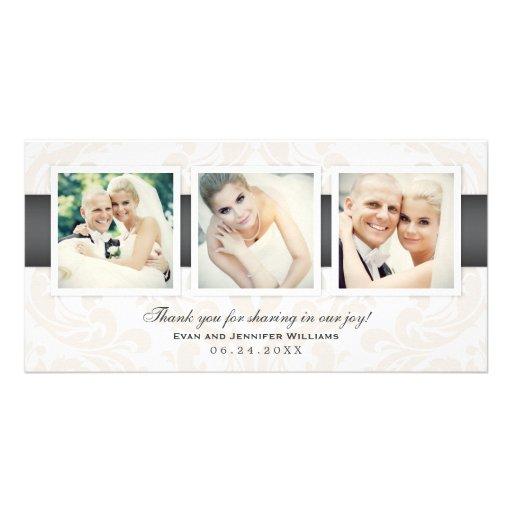 Bröllopfototack Cards | tre foto Hälsningskort Med Foto