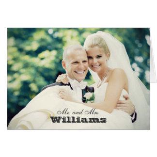 Bröllopfototackkortet Cards | vikt stil Hälsningskort
