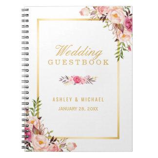 BröllopGuestbook - elegant chic guld- rosa Anteckningsbok Med Spiral