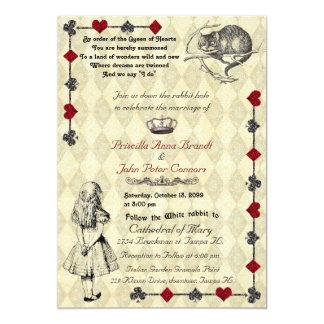 """Bröllopinbjudan """"Alice i underland"""" 5x7 12,7 X 17,8 Cm Inbjudningskort"""