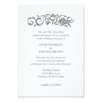 Bröllopinbjudan smyckad | 12,7 x 17,8 cm inbjudningskort