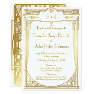 Bröllopinbjudankort, underbara Gatsby, guld- vit 12,7 X 17,8 Cm Inbjudningskort