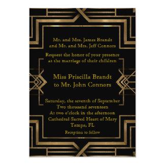 Bröllopinbjudansvart & guld, underbar-Gatsby 12,7 X 17,8 Cm Inbjudningskort