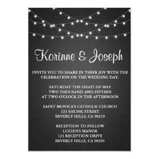 Bröllopinbjudansvarten, svart tavla, stränger lätt 12,7 x 17,8 cm inbjudningskort