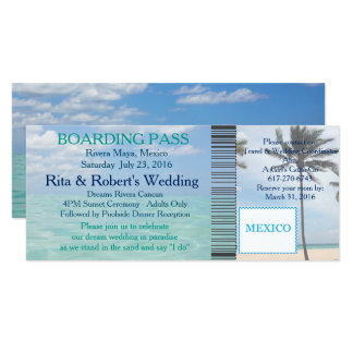 Brölloplogiet passerar biljettstranddestinationen 10,2 x 23,5 cm inbjudningskort