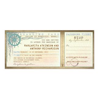 brölloplogipassera-vintage biljetter med OSA 10,2 X 23,5 Cm Inbjudningskort
