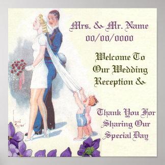 bröllopmottagande, välkommen mottagandeaffisch för