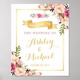 Bröllopmottagandet undertecknar elegantt chic poster