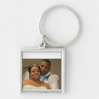 Bröllopnyckelring Fyrkantig Silverfärgad Nyckelring