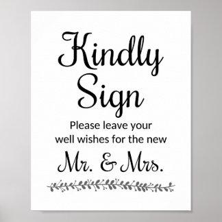 Bröllopönskemål för nya Herr och Fru undertecknar Poster
