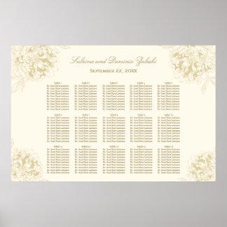 Bröllopplacering kartlägger blom- piondesign för poster
