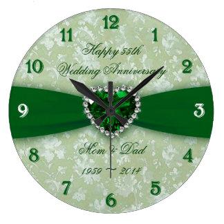 Bröllopsdag för damast 55th stor klocka