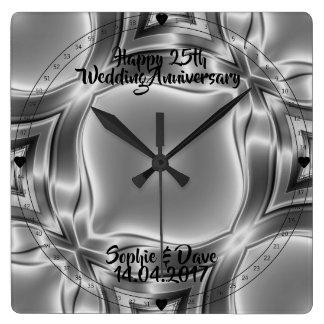 Bröllopsdag för silver för silverlinjer 25th fyrkantig klocka
