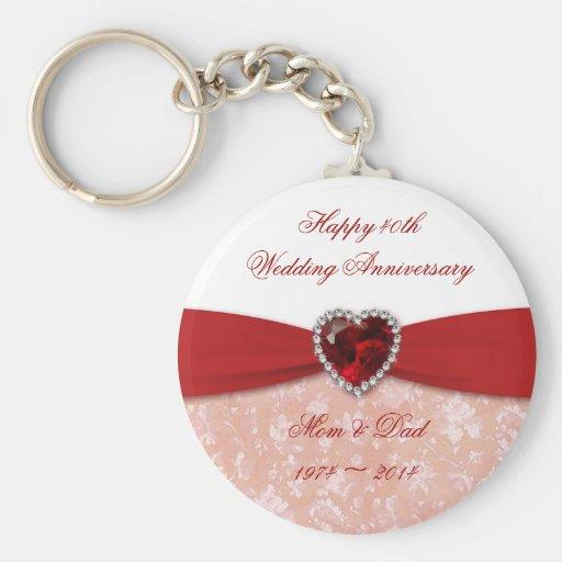 Bröllopsdagdesign för damast 40th nyckelring