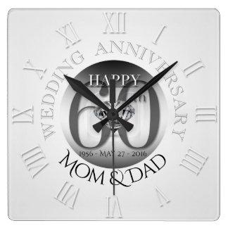 Bröllopsdagen för diamanten 60th tar tid på romare fyrkantig klocka