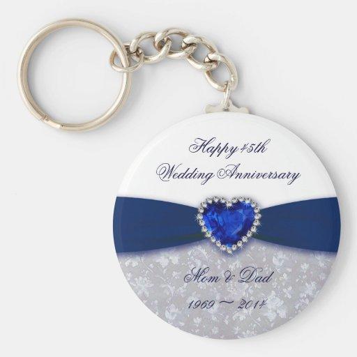 Bröllopsdagnyckelring för damast 45th nyckel ringar