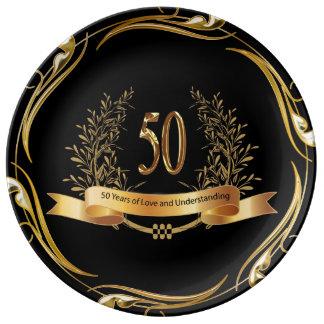 Bröllopsdagporslin för lycklig 50th pläterar porslinstallrik