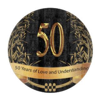Bröllopsdagskärbräda för lycklig 50th
