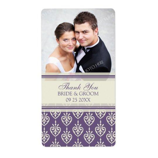 Bröllopsetiketter för foto för plommonkrämmönster fraktsedel