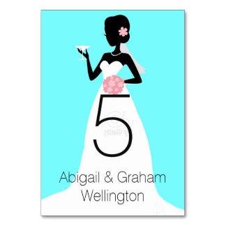 Bröllopsklänningbordsnummerkort Bordsnummer