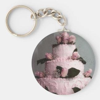 Bröllopstårta Keychain Rund Nyckelring
