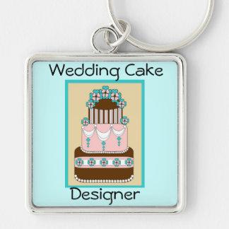 Bröllopstårtaformgivare Keychain Fyrkantig Silverfärgad Nyckelring