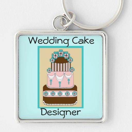 Bröllopstårtaformgivare Keychain Nyckelring