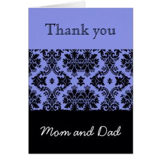 Brölloptack, mamma och pappa för blått damastast hälsningskort