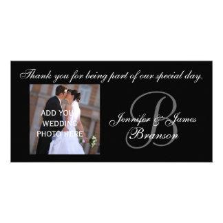 BrölloptackMonogram B och meddelande Anpassade Foto Kort